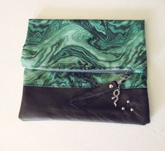 malachite green cooton and leather pouch