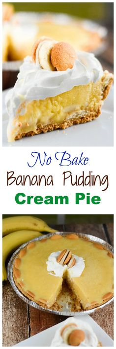 This easy No Bake Banana Pudding Cream Pie recipe is super easy to make and requires no baking! Yay! Yet it still has that creamy banana cream filling over the crunchy graham cracker crust and vanilla wafers. ~ http://FlavorMosaic.com