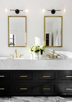 dustjacketattic:  black, white and brass bathroom