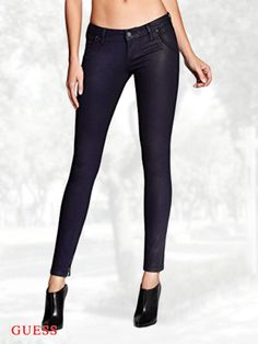 GUESS Women's Low-Rise Indigo Moto-Seam Skinny Jeans in Clear Coated Wash 2