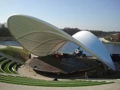 Bandshells Free standing canopies make great Band Shells when they are designed properly so that they reflect sound or offer a great backdrop for performers. This was is in Landsdale, P for their. Concept Models Architecture, Landscape Architecture, Landscape Design, Architecture Design, Green Architecture, Landscape Art, Membrane Structure, Shade Structure, Fabric Structure