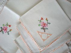 1950's Cloth Napkins, 4 Fine Hand Embroidered Dinner Napkins, Perfect NEW, Wedding Gift/Napkin Set in ORANGE egde and PINK Dogwood Flowers by chloeswirl on Etsy