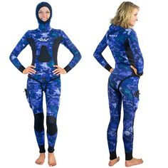 Womens 3D Ocean Blue Wetsuit 2-Piece Open Cell