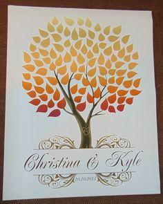 Autumn Seaswik Wedding Tree | Guest Book Alternative | Rustic Wedding | Customer Photo | Wedding Colors - Red, Orange, Yellow | peachwik.com