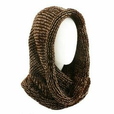 """NWT Cowl Hood Knit Infinity Loop Scarf Brown NWT Unisex soft knit 2 tone chunky pullover single loop cowl tube infinity scarf and hood. Flat measurement 24-1/4"""" x 17-1/4"""".  Brand new with tags never worn. Bundle and save. Color Brown with Ivory as shown. Accessories Scarves & Wraps"""