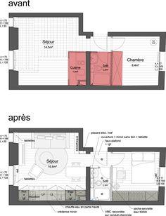 plan avant apr s d 39 un appartement de 36m2 plans pinterest avant apr s appartements et plans. Black Bedroom Furniture Sets. Home Design Ideas