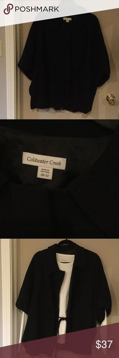 ❄COLDWATER CREEK plus size jacket. Sz 20/22 This jacket can be worn inside or outside. It's fully lined. I put a white shirt under the jacket so you are able to see the sleeve length and tied waist. This can be machine washed or dry cleaned. Worn once. Coldwater Creek Jackets & Coats Capes
