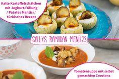 Vorspeise: Tomatensuppe mit selbst gemachten Croutons Hauptspeise: Kalte Kartoffelschälchen mit Joghurt-Füllung / Patates Mantisi / tür...