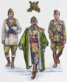 """Nationalist Forces - General Staff: • Teniente Coronel, winter campaign dress • General Francisco Franco y Bahamonde • Capitán ADC, summer campaign dress"", Stephen Walsh"