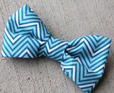 Boy's Bright Blue Chevron Bow Tie clip on by Divine Domestication