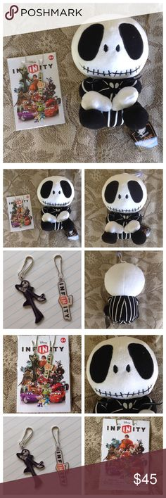 """3 Jack Skelington Charms Plushie NWT THIS IS FOR BOTH ITEMS SHOWN!  Nightmare Before Christmas. Jack Skellington 9"""" Plushie.  Has a sticky that you can hang from window- mirror. Super cute!!!  Brand new!2 DISNEY INFINITY JACK SKELLINGTON - NIGHTMARE BEFORE CHRISTMAS KEYCHAINS-CHARMS. BRAND NEW IN PACKAGE. GREAT STOCKING STUFFER! Disney Jewelry"""