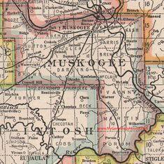Muskogee County Oklahoma 1922 Map Warner, Porum, Haskell, Taft, Ft. Gibson, Summit, Oktaha, Keefeton, Braggs, Briartown, OK