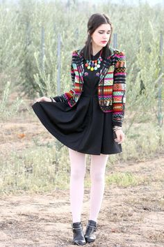 This relaxed casual combination of a multi colored print blazer and a black skater dress is super easy to pull together in no time, helping you look seriously stylish and ready for anything without spending too much time searching through your wardrobe. Ankle Boots Dress, White Tights, Printed Blazer, Black Leather Ankle Boots, Black Blazers, Skirt Fashion, Looking For Women, White Dress, Outfits