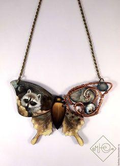 """Купить Кулон с росписью """"Биомеханика.Лесной житель"""" - комбинированный, кулон, кулон бабочка, кулон с росписью"""