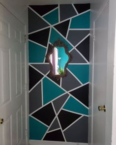 Bedroom Wall Designs, Wall Decor Design, Room Design Bedroom, Home Room Design, Home Interior Design, Beauty Room Decor, Diy Room Decor, Geometric Wall Paint, Wall Paint Patterns