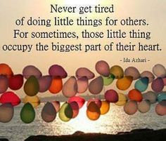 Never get tired of doing little things for others.  For sometimes, those little things occupy the biggest part of their heart. ~ Ida Azhari
