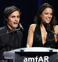 Cannes 2014.  Sharing the stage: Gael Garcia Bernal and actress Michelle Rodriguez