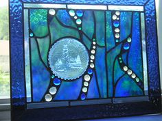 Stained Glass - Stained Glass Panel - Lighthouse Panel - Blue - Aqua  - OOAK - Handcrafted - Made in USA