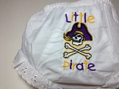 """East Carolina Diaper Cover Bloomers Embroidered with """"Little Pirate"""" and Logo.. $12.50, via Etsy."""