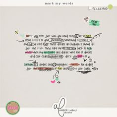 Mark My Words - fun accents for your digital scrapbook journaling