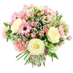 If you are looking for a sweet and gentle way to express your love and care to your family and friends, this bouquet made up of roses, gerberas, carnations, alstroemeria and gypsophila is the perfect choice! Summer Flowers, Colorful Flowers, White Roses, Pink Roses, Early May Bank Holiday, Congratulations Flowers, Pink Carnations, Same Day Flower Delivery, Flowers Delivered