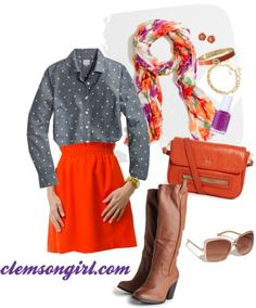 Clemson Girl Gameday Look - Falling for Fall Clemson Tigers, Orange And Purple, Football Season, Head To Toe, College Football, Auburn, Vegan Leather, What To Wear, Cool Style