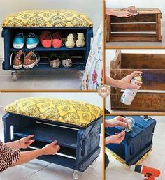 Ящик для обуви и скамейка из старого продуктового ящика