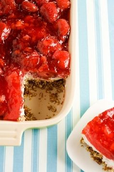 Strawberry pretzel desert, Bobby Deen.  Saves 358 calories and 24 grams of fat per serving. Make with Truvia instead of sugar and save even more.  Original recipe had 558 calories and 28 grams of fat.
