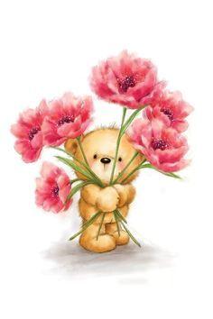 Illustration Inspiration, Cute Illustration, Cute Animal Drawings, Cute Drawings, Flower Canvas, Flower Art, Canvas Artwork, Canvas Art Prints, Cute Images