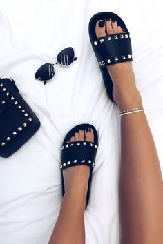 Ellen Black Studded Sliders