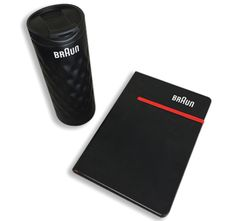Braun branded bottle and notebook Bose, Bluetooth, Notebook, Color, Gift, Get Tan, Colour, The Notebook, Exercise Book
