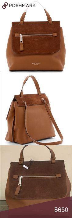 """Marc Jacobs large Waverly leather satchel bag Beautiful, spacious classic Satchel from Marc Jacobs in maple tan (brown). A stylish contrast leather satchel bag that easily matches your outfits and is highly functional for everyday use.   Single top handle. Detachable shoulder strap. Flap hook lock closure. Exterior features one zip pocket. Interior features 2 pockets (1 large and 1 zip pocket) and button clasp closure. Dust bag included. 11.5"""" H x 12"""" L x 6"""" D. Strap drop: 14"""" Handle drop…"""
