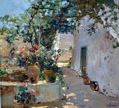 """Carlo Perindani (Milano, 1899 - Capri, 1986) """"Capri"""" olio su tavola,cm. 32 x 35 Collezione privata"""
