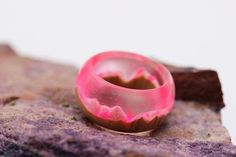 Fancy wooden resin ring Eco epoxy jewelry Green Wood ring the
