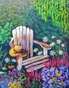 """""""Garden Chair""""  by Alyssa Boran. This charming garden painting was inspired by one of the over 300 different lessons in acrylic painting on www.gngercooklive.gallery"""