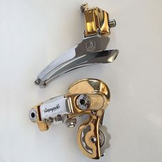 Ital Cicli Systems Zurich, Campagnolo gen 2 gold plated front derailleur with an ICS modified the fixing bolt. Matching gen 2 rear derailleur.