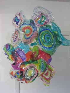 MaryMaking: Dale Chihuly Inspired Sculpture - sheets of Shrinky Dink paper - kids create simple.