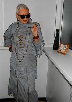 """Купить ПЛАТЬЕ В СТИЛЕ БОХО """"ХОЗЯЙКА МЕДНОЙ ГОРЫ"""" - серый, платье вязаное"""