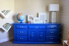 This dresser was a craigslist find.  Bright & cheerful paint along with new hardware gave it a new life.