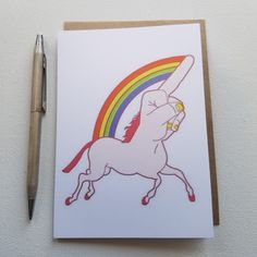 HATE MAIL - Unicorn Middle Finger ...Unifinger - Anti-Greeting Card - Cards for…