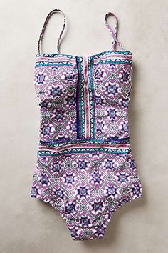 This print is awesome! Nanette Lepore Mallorca Mosaic Maillot Bathing Suits, Swimwear One Piece Maillot, Mosaics Maill. Summer Suits, Summer Wear, Spring Summer Fashion, Fashion Mode, Look Fashion, Womens Fashion, Looks Style, Style Me, Inspiration Mode