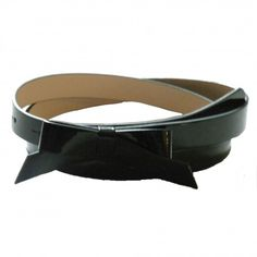 Skinny Patent Leather Bow Belt - Black