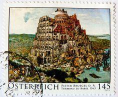 stamp Austria 145c Tower of Babel painting by Pieter Bruegel the Elder;