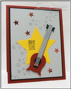 Be The Star, Stampin' Up!, punch art, Guitar, more details from Connie Babbert, www.inkspiredtreasures.com