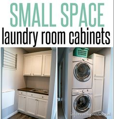 Small Space Decorating: This laundry room is only 4'x11' but doesn't skimp on storage. Inexpensive cabinets were used for plenty of hidden storage and a wood counter with sink was made on the cheap from a piece of plywood.