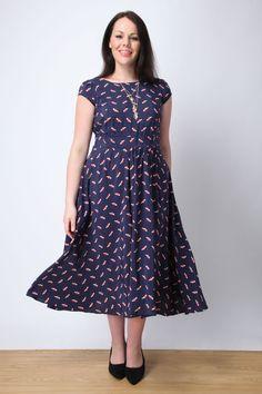 Navy bird print flared midi tea dress plus size 16,18,20,22,24,26,28