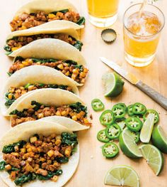 Add color to these chorizo tacos with sliced jalapeños and lime wedges for serving, or use sweet potatoes in place of the potatoes.