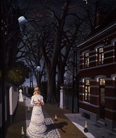 Paul Delvaux September 1897 – 20 July was a Belgian painter famous for his paintings of female nudes. He was influenced by the works of Giorgio de Chirico, and was also briefly associated with surrealism.Toutes les Lumieres / All the lights, 1962 Rene Magritte, Max Ernst, What Is Surrealism, Paul Delvaux, Magic Realism, Mature Fashion, Fantastic Art, Surreal Art, Sculpture