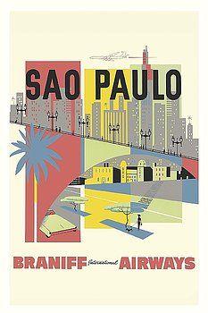 Sao Paulo, Brazil - Braniff International Airways - Vintage Airline Travel Poster,vintage travel poster,retro,poster art,vintage advertising,vintage travel, brazilian travel
