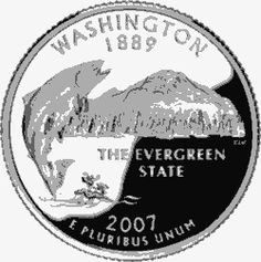 Learn about the Washington 50 State Quarter. Access Washington official state symbols with description and pictures. Washington State, United States Mint, 50 States, Coins Worth Money, State Quarters, Coin Worth, Nation State, Evergreen State, Washington
